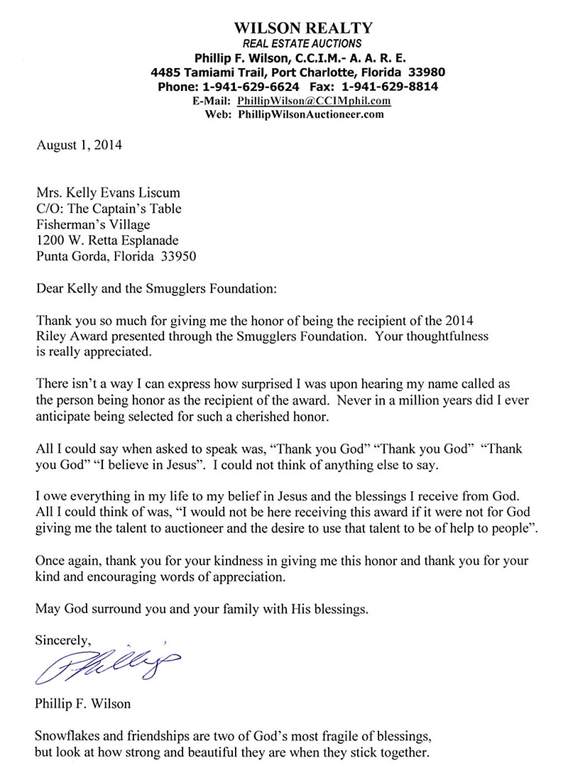 Wonderful 8 1 2014 Riley Award Letter