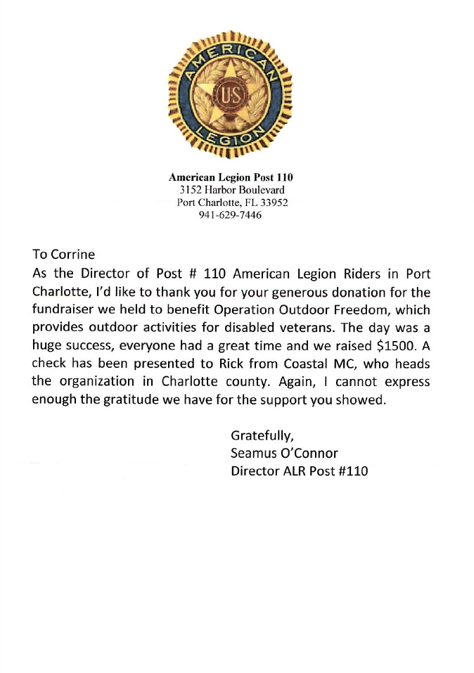 Letter from american legion post 110 smugglers for American legion donation letter